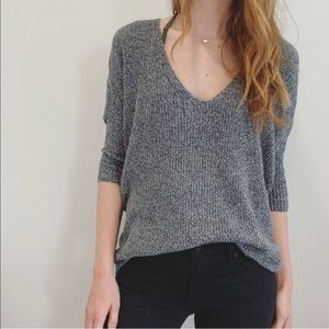 Express Gray V Neck Slouchy Sweater